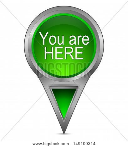 green You are Here Map Pointer - 3d illustration