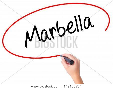 Women Hand Writing Marbella With Black Marker On Visual Screen