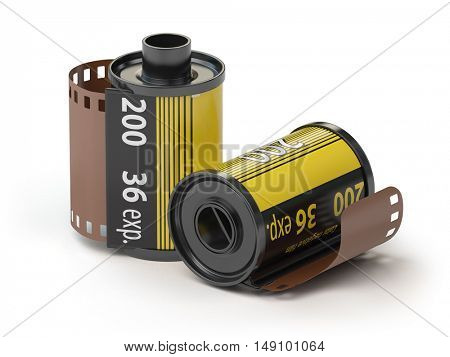 35mm camera photo film canisters isolateed on white. 3d illustration