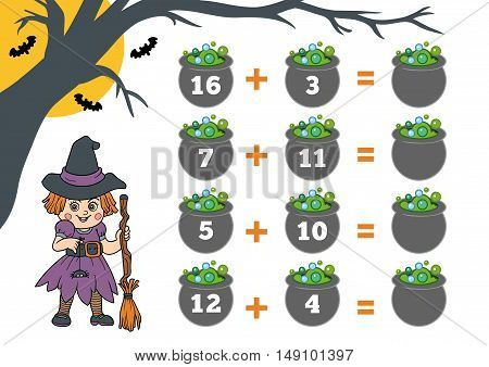 Counting Game For Preschool Children. Halloween Characters, Witch.