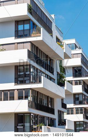 Modern white townhouses seen in Berlin, Germany