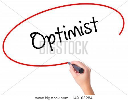 Women Hand Writing Optimist  With Black Marker On Visual Screen