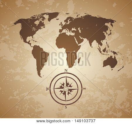 vintage old style world map with compass
