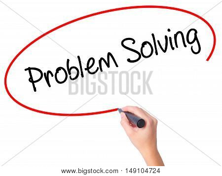 Women Hand Writing Problem Solving With Black Marker On Visual Screen