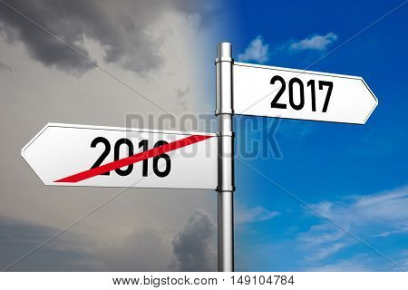 Figerpost shows the direction to 2017 new year (3D Rendering)