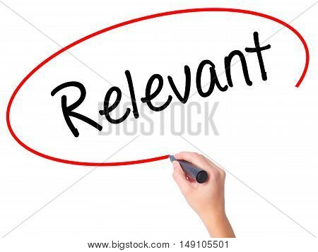 Women Hand Writing Relevant With Black Marker On Visual Screen