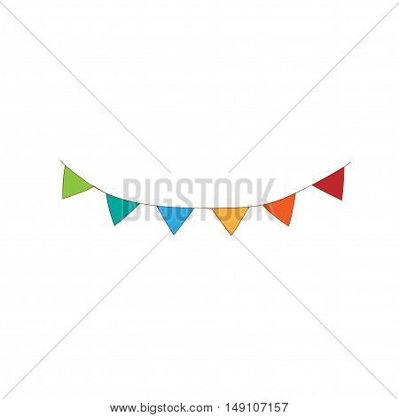 Multicolored bright buntings triangular flags garland isolated on white background. Green, Blue, Orange, Red Triangular Flags isolated. Celebration flags.