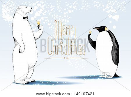 Merry Christmas vector seasonal greeting card. Penguin polar bear cute characters drinking glass of champagne funny nonstandard illustration. Design element with Merry Christmas hand drawn