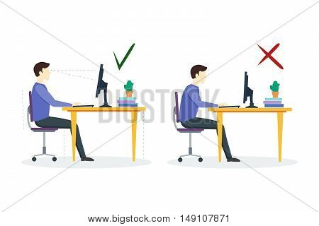 Incorrect and Correct Sitting Position. Flat Design Style. Vector illustration