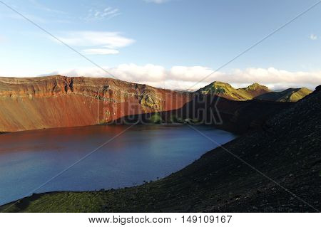 Lljotipollur or dreadful hole crater lake in Landmannalaugar valley Iceland