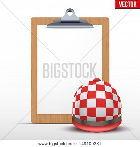 Coaching blank clipboard and helmet of horseride. Editable Vector illustration Isolated on white background.