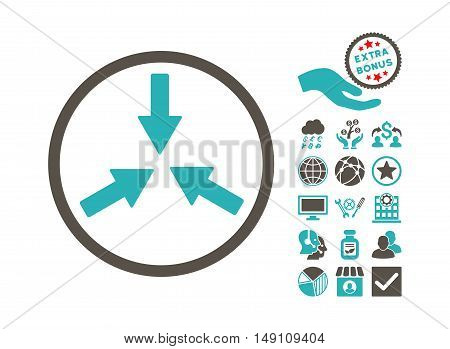 Collide Arrows icon with bonus pictograph collection. Vector illustration style is flat iconic bicolor symbols grey and cyan colors white background.
