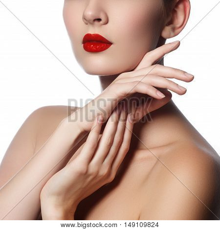 Close-up Shot Of Woman Lips With Glossy Red Lipstick. Glamour Re