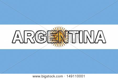 Illustration of the national flag of Argentina with the country written on the flag