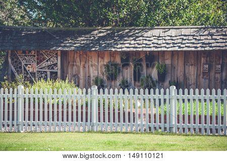 White Picket Fence In A Garden