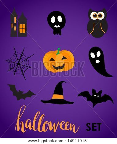 Collection of halloween stickers for your design. Hat, owl, ghost, web, bat, pumpkin, castle symbols. Stickers or vynil labels design