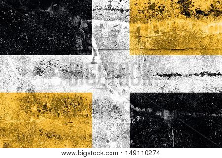 Flag Of Levis, Quebec, Canada, Painted On Dirty Wall
