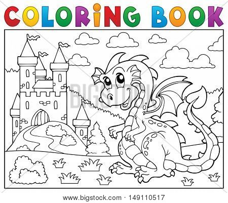Coloring book dragon near castle theme 2 - eps10 vector illustration.