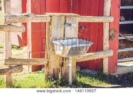 Steel Sink Outside A Barn