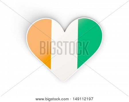 Flag Of Cote D Ivoire, Heart Shaped Sticker
