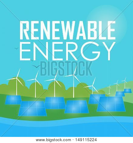 Renewable energy vector illustration. Power plant using renewable solar energy with sun and wind turbine. Modern alternative energy generation. Green energy concept. Eco power