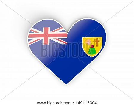 Flag Of Turks And Caicos Islands, Heart Shaped Sticker