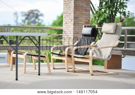 Outdoor seating area with two armchairs for relaxing