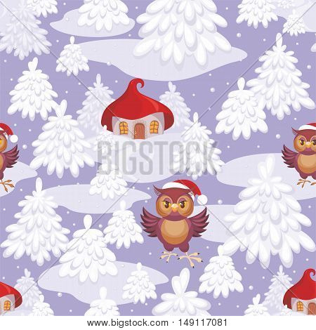 Christmas seamless pattern with the image of a fairytale winter forest, small houses and owl in Santa Claus's cap