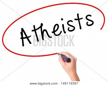 Women Hand Writing Atheists With Black Marker On Visual Screen