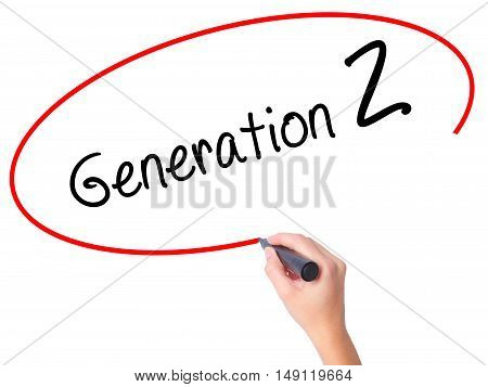 Women Hand Writing Generation Z With Black Marker On Visual Screen