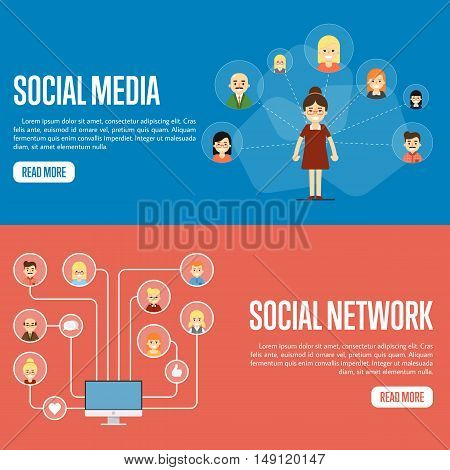 Social networking concept. Social media and social network people connecting. Social network map. Social media network infographics with people and their social network. Community of social network people vector illustration. Social media people.