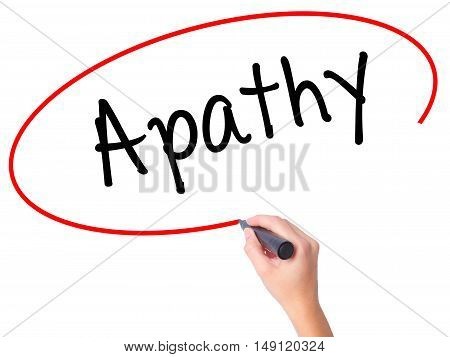 Women Hand Writing Apathy  With Black Marker On Visual Screen