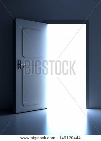 A open door in a empty room. 3D rendered illustration.