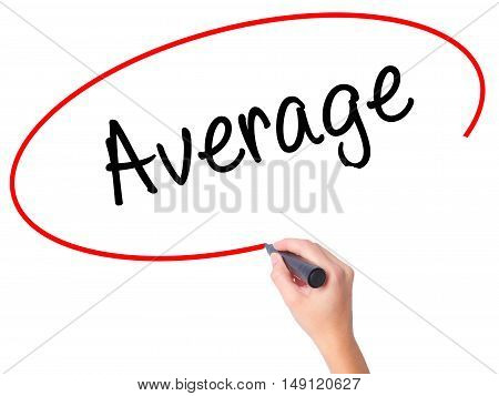 Women Hand Writing Average With Black Marker On Visual Screen