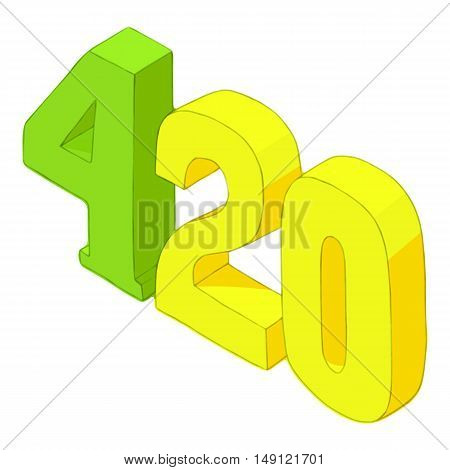 Four twenty icon in cartoon style isolated on white background. Subculture symbol vector illustration