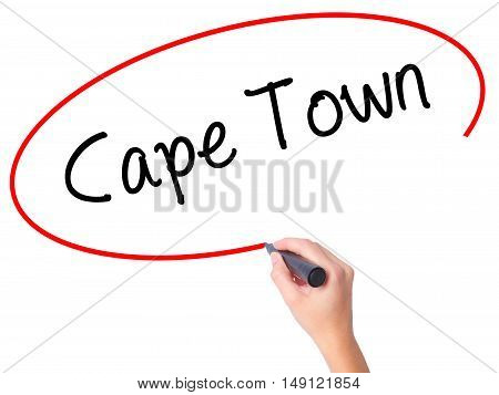 Women Hand Writing Cape Town With Black Marker On Visual Screen