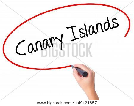 Women Hand Writing Canary Islands With Black Marker On Visual Screen
