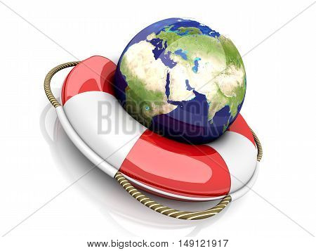 A life belt. 3d rendered Illustration. Isolated on white.