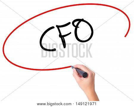 Women Hand Writing Cfo (chief Financial Officer) With Black Marker On Visual Screen