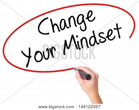 Women Hand Writing Change Your Mindset With Black Marker On Visual Screen.