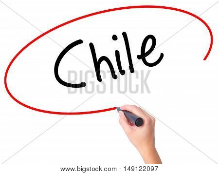 Women Hand Writing Chile  With Black Marker On Visual Screen