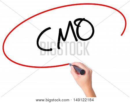Women Hand Writing Cmo (chief Marketing Officer)   With Black Marker On Visual Screen