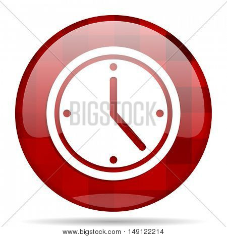 time red round glossy modern design web icon