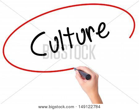 Women Hand Writing Culture With Black Marker On Visual Screen
