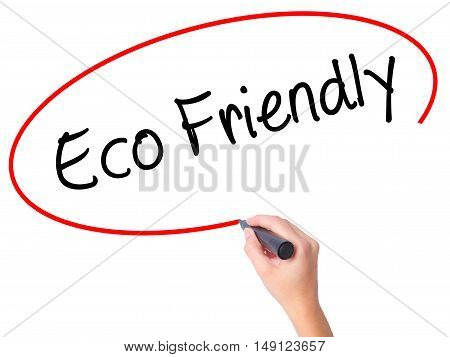 Women Hand Writing Eco Friendly With Black Marker On Visual Screen