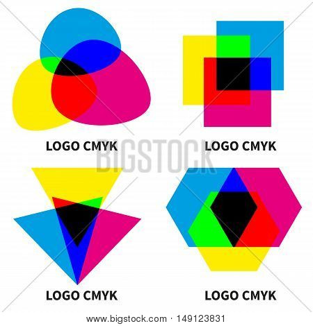 Abstract vector logo color models cmyk and rgb. Design elements isolated on white background. Cyan, Magenta, yellow, black. Icons for printers.