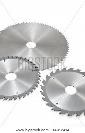 Circular saw blades for wood isolated on white