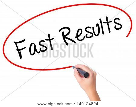 Women Hand Writing Fast Results With Black Marker On Visual Screen
