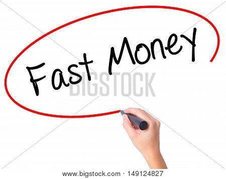 Women Hand Writing Fast Money  With Black Marker On Visual Screen