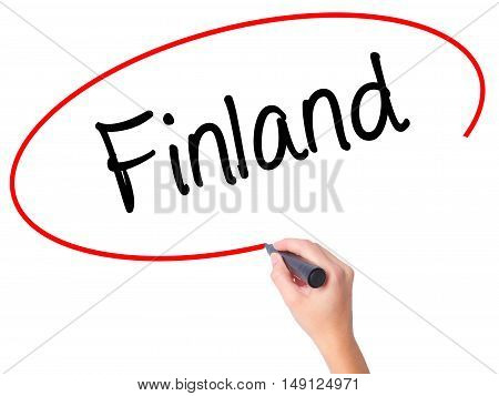 Women Hand Writing Finland With Black Marker On Visual Screen.